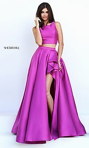 Image of two-piece Sherri Hill prom dress with high-low skirt. Style: SH-50751 Detail Image 1