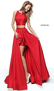 Image of two-piece Sherri Hill prom dress with high-low skirt. Style: SH-50751 Front Image