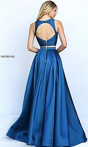 Image of two-piece Sherri Hill prom dress with high-low skirt. Style: SH-50751 Back Image