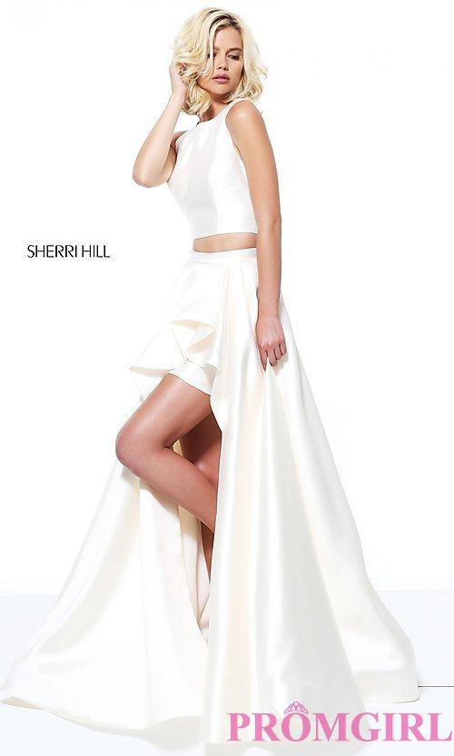 Image of two-piece Sherri Hill prom dress with high-low skirt. Style: SH-50751 Detail Image 3