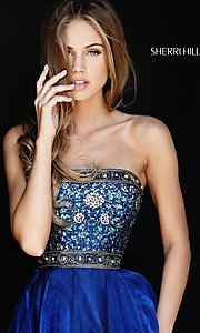 Image of Sherri Hill a-line strapless long prom dress. Style: SH-50779 Detail Image 2