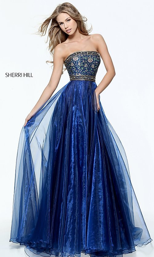 Image of Sherri Hill a-line strapless long prom dress. Style: SH-50779 Detail Image 1