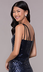 Image of short navy blue sequin multi-strap party dress. Style: MT-8386 Detail Image 2