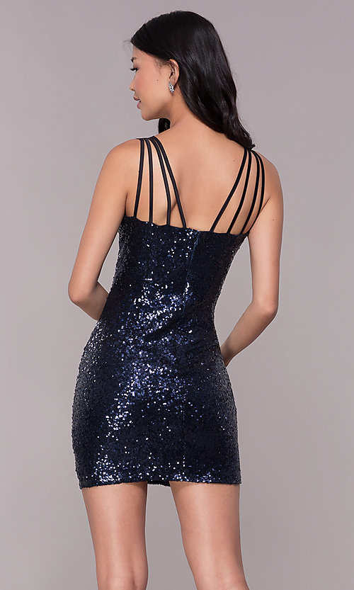 Image of short navy blue sequin multi-strap party dress. Style: MT-8386 Back Image