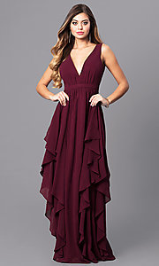 Long V-Neck Wine Red Prom Dress with Ruffles