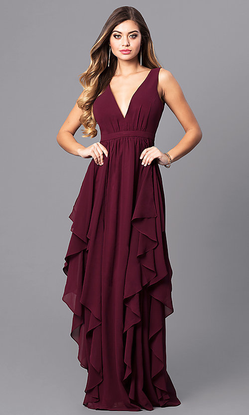 Image of long v-neck wine red prom dress with ruffles. Style: MT-7626 Front Image