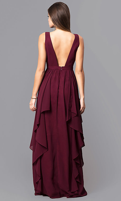 Image of long v-neck wine red prom dress with ruffles. Style: MT-7626 Back Image