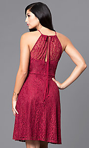 Image of short lace holiday party dress in burgundy red. Style: SI-11464-B Back Image