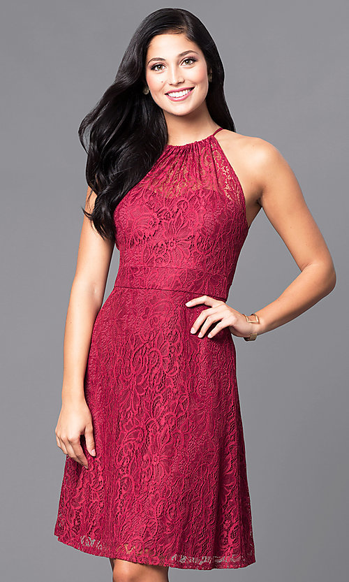 Image of short lace holiday party dress in burgundy red. Style: SI-11464-B Front Image