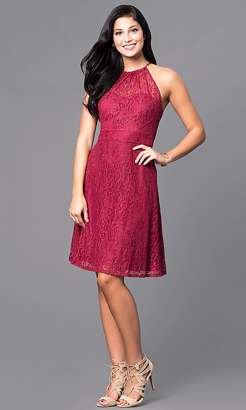 Image of short lace holiday party dress in burgundy red. Style: SI-11464-B Detail Image 1