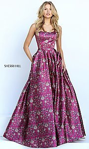 Long Print Scoop Neck A-Line Prom Dress