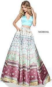 V-Neck Halter Two Piece Print Prom Dress