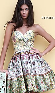 Print Sherri Hill Short Prom Dress