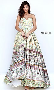 A-Line Print Sherri Hill Strapless Prom Dress