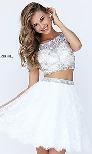 Short Two Piece Prom Dress with Short Sleeves