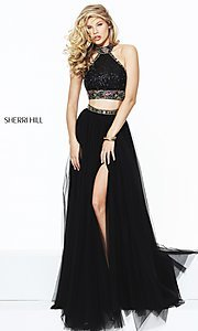 Two Piece Long Black Halter Prom Dress