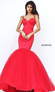 Image of Sherri Hill red sweetheart long mermaid prom dress. Style: SH-50822 Back Image