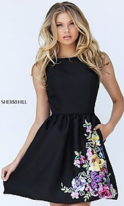 Embroidered Black Short High Neck Prom Dress