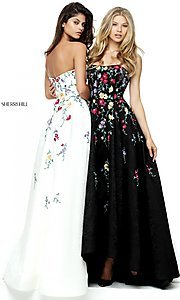 Long A-Line Empire Waist Embroidered Prom Dress