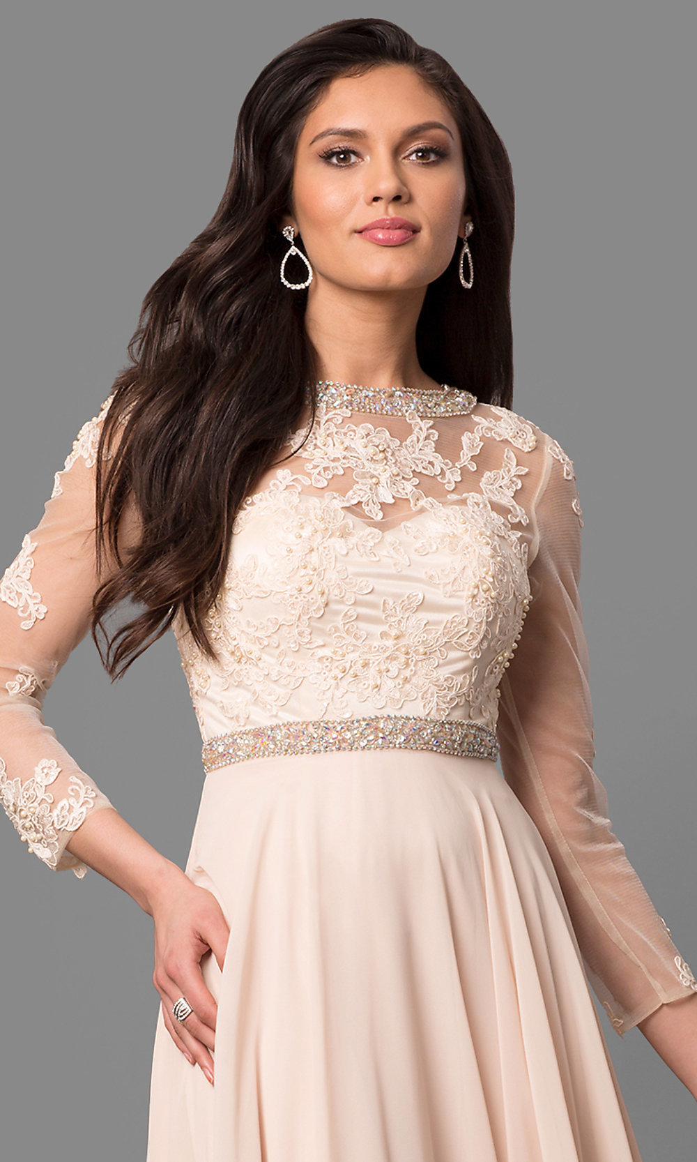 Cut Out Prom Dress With Long Sheer Sleeves Promgirl