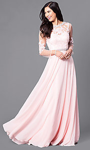 Long Sheer-Sleeve Prom Dress with Back Cut Out