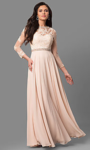Image of long sheer-sleeve prom dress with back cut out. Style: DQ-9660 Detail Image 2