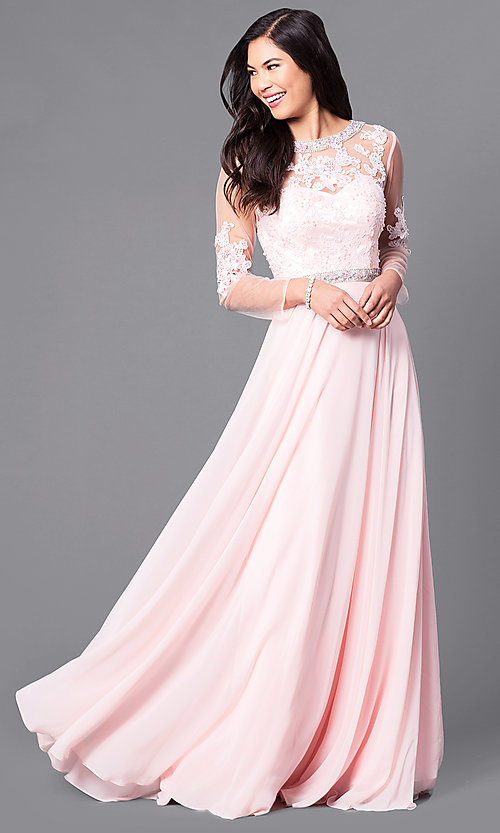 Image of long sheer-sleeve prom dress with back cut out. Style: DQ-9660 Front Image