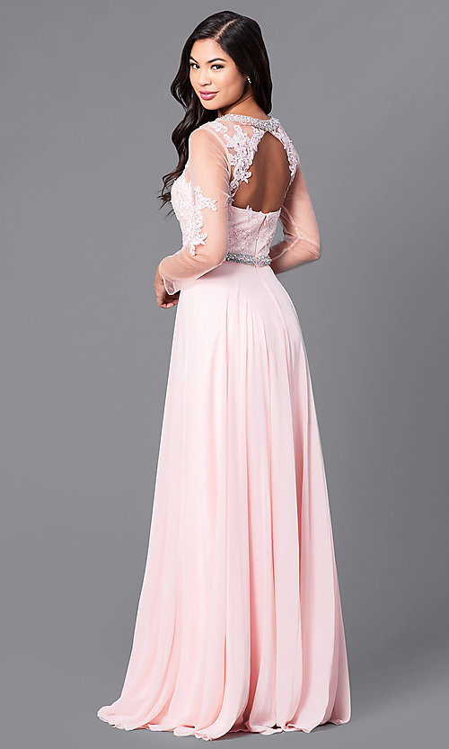 Image of long sheer-sleeve prom dress with back cut out. Style: DQ-9660 Back Image