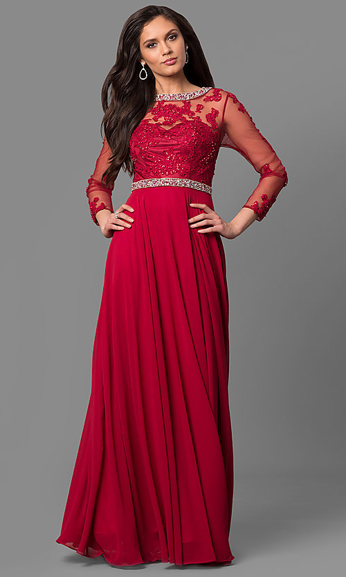 Image of long sheer-sleeve prom dress with back cut out. Style: DQ-9660 Detail Image 1