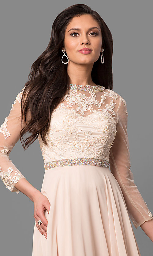 Image of long sheer-sleeve prom dress with back cut out. Style: DQ-9660 Detail Image 3
