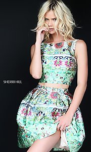 Two Piece Short Print Prom Dress