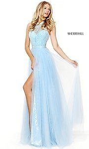 Long Sleeveless Halter High Neck Prom Dress