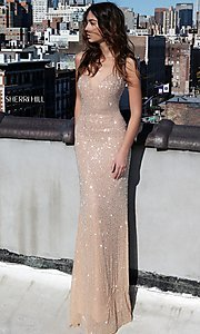 Long Deep V-Neck Beaded Prom Dress
