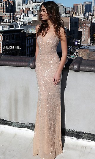 Long Deep V Neck Beaded Prom Dress