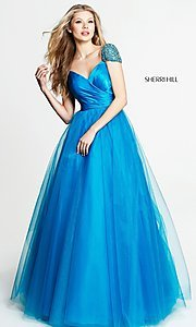 V-Neck Prom Dress with Beaded Cap Sleeves