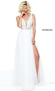 Open Back Deep V-Neck Long Prom Dress