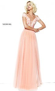 V-Neck Prom Dress with Cold Shoulder Sleeves
