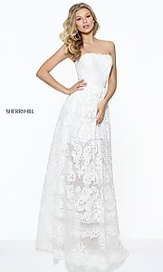 Long Strapless Embroidered Empire Waist Prom Dress