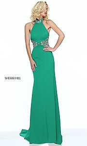 Open Back Halter High Neck Prom Dress