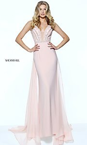 Sherri Hill Deep V-Neck Long Prom Dress