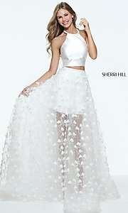 Ivory Two Piece Prom Dress with a Sheer Skirt