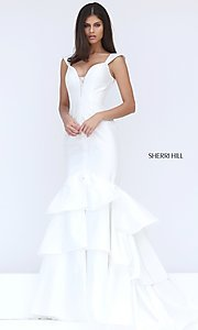 Long V-Neck Cap Sleeve Mermaid Prom Dress