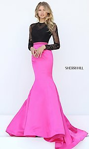 Open Back Trumpet Skirt Long Sleeve Prom Dress