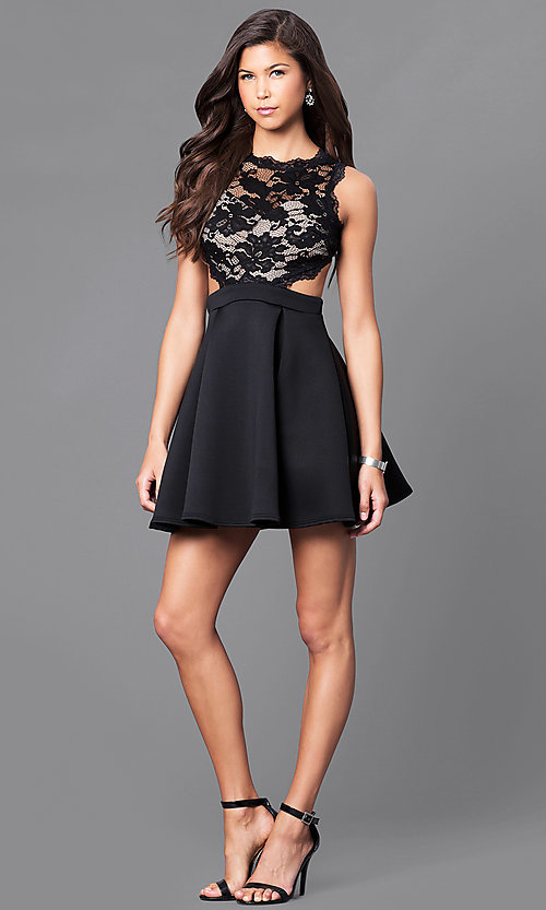 Image of short a-line black mock two-piece party dress. Style: DC-44500 Detail Image 1