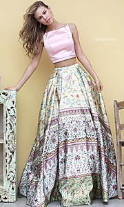 Print Ball Gown Style Two Piece Prom Dress