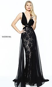 Lace V-Neck Prom Dress with Side Cut Outs