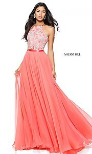 Long Sherri Hill High-Neck Prom Dress