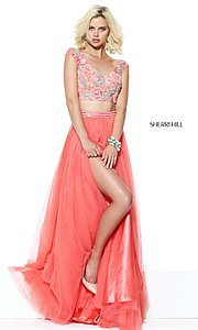 Embroidered Two-Piece Long Prom Dress