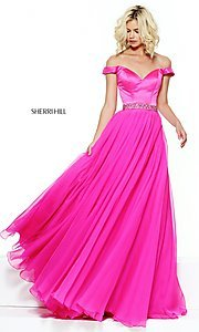 Sherri Hill Long Off-the-Shoulder Prom Dress