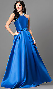 Image of long satin high-neck prom dress with jeweled collar.  Style: TE-6007 Detail Image 2